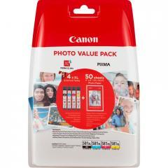 Canon CLI-581 XL C/M/Y/BK Multi Pack + 50 sheets 4x6