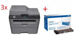 3x Brother MFC-L2700DN Laser Multifunctional + Brother TN-2310 Toner Cartridge Standard