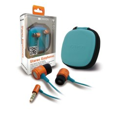 Canyon stereo earphones with inline microphone and hard shell storage bag