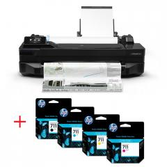 HP Designjet T120 24-in ePrinter + HP 711 80-ml Black Ink Cartridge + HP 711 29-ml Cyan Ink