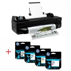 HP Designjet T520 36-in ePrinter + 2X (HP 711 80-ml Black Ink Cartridge + HP 711 29-ml Cyan Ink