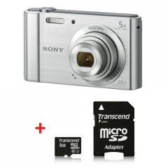 Sony Cyber Shot DSC-W800 silver + Transcend 8GB micro SDHC UHS-I Premium (with adapter