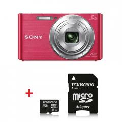 Sony Cyber Shot DSC-W830 pink + Transcend 8GB micro SDHC UHS-I Premium (with adapter