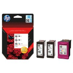 Консуматив HP 46 3-Pack Original Ink Cartridge; C/M/Y/K;  Page Yield 1500/1500/750;