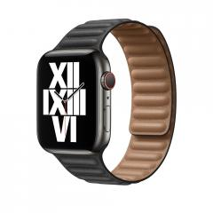 Apple Watch 44mm Band: Black Leather Link - Small