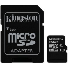 Kingston 16GB microSDHC Canvas Select 80R CL10 UHS-I Card + SD Adapter EAN: 740617274646