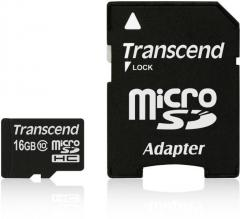 Transcend 16GB microSDHC (with adapter