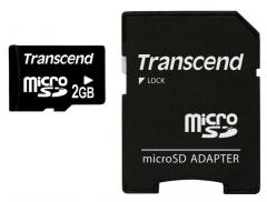 Transcend 2GB microSD (with adapter)