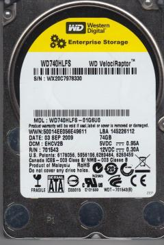 HDD 74GB SATAII VelociRaptor 10000rpm 16MB cache (Factory Recertified